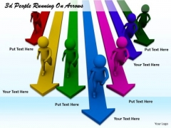 Business Plan And Strategy 3d People Running On Arrows Character