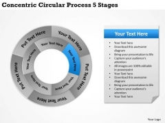 Business Plan And Strategy Concentric Circular Process 5 Stages