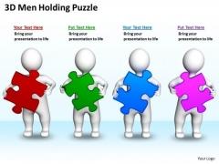 Business Plan Diagram 3d Men Holding Puzzles PowerPoint Slides