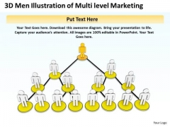 Business Plan Diagram 3d Men Illustration Of Multi Level Marketing PowerPoint Templates