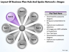 Business Plan Hub And Spoke Network 8 Stages PowerPoint Templates