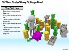 Business Plan Strategy 3d Man Saving Money Piggy Bank Character Models