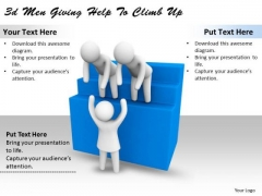 Business Plan Strategy 3d Men Giving Help To Climb Up Concept