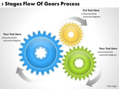 Business Planning Strategy 3 Stages Flow Of Gears Process Strategic Ppt Slide