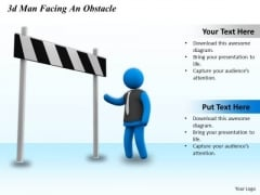 Business Planning Strategy 3d Man Facing Obstacle Concept