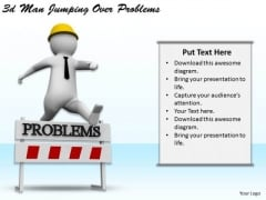 Business Policy And Strategy 3d Man Jumping Over Problems Adaptable Concepts
