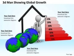 Business Policy And Strategy 3d Man Showing Global Growth Concept