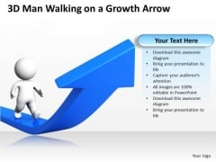 Business Power Point Man Walking On Growth Arrow PowerPoint Templates Ppt Backgrounds For Slides
