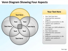 Business Power Point Venn Diagram Showing Four Aspects PowerPoint Slides