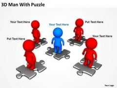 Business PowerPoint Examples 3d Man With Puzzle Templates