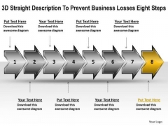 Business PowerPoint Presentation Losses Eight Steps Flow Chart Slides