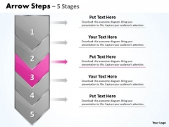 Business PowerPoint Template Arrow 5 Stages 1 Management Design