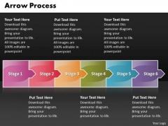 Business PowerPoint Template Arrow Process 6 Stages Management Design