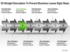 Business PowerPoint Templates Losses Eight Steps Free Flow Chart Slides