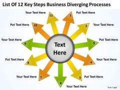 Business PowerPoint Theme Diverging Processes Circular Layout Diagram Templates