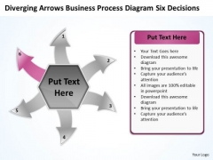 Business PowerPoint Theme Process Diagram Six Decisions Business Cycle Flow Network Slides