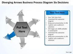Business PowerPoint Theme Process Diagram Six Decisions Cicular Cycle Flow Network Slides