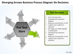 Business PowerPoint Theme Process Diagram Six Decisions Cycle Flow Network Slides