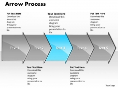Business Ppt Theme Arrow Writing Process Representation Video 5 Stages 4 Image