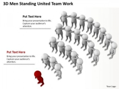 Business Process Diagram Chart 3d Men Standing United Team Work PowerPoint Templates