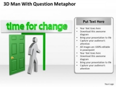 Business Process Diagram Example 3d Man With Time For Change Achievement Future PowerPoint Slides