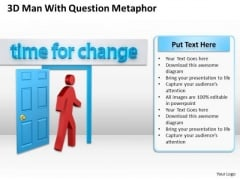 Business Process Diagram Example 3d Man With Time For Change PowerPoint Slides