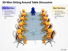 Business Process Diagram Example 3d Men Sitting Around Table Discussion PowerPoint Templates