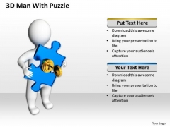 Business Process Diagrams 3d Man With Blue Puzzle PowerPoint Slides