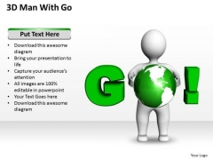 Business Process Diagrams 3d Man With Go PowerPoint Templates