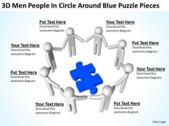 Business Process Diagrams 3d Men People Circle Around Blue Puzzle Pieces PowerPoint Slides