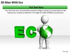 Business Process Flow Chart Examples 3d Man With Eco PowerPoint Slides
