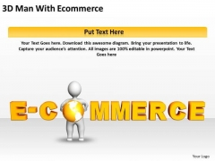 Business Process Flow Chart Examples 3d Man With Ecommerce PowerPoint Slides