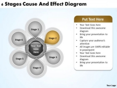 Business Process Flow Chart Examples 6 Stages Cause And Effect Diagram Ppt PowerPoint Slides