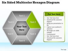 Business Process Flow Diagram Examples Sided Multicolor Hexagon PowerPoint Templates