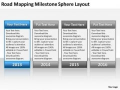 Business Process Flow Diagram Mapping Milestone Sphere Layout PowerPoint Templates