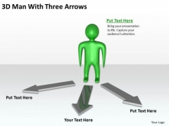 Business Process Flowchart 3d Man With Three Arrows PowerPoint Templates