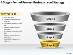 Business Process Flowchart 4 Stages Funnel Level Strategy Ppt PowerPoint Slides
