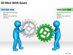 Business Process Flowchart Examples 3d Men With Gears PowerPoint Templates