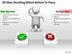 Business Process Management Diagram 3d Deciding Which Button Press PowerPoint Slides