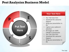 Business Process Management Diagram Pest Analysis Model PowerPoint Slides