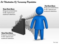 Business Process Strategy 3d Illustration Of Increasing Population Character Models