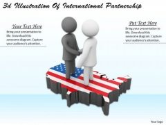 Business Process Strategy 3d Illustration Of International Partnership Character Models