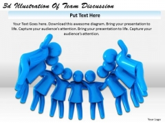 Business Process Strategy 3d Illustration Of Team Discussion Character Models