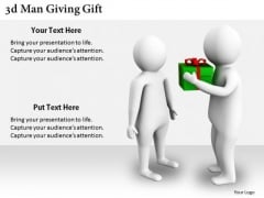 Business Process Strategy 3d Man Giving Gift Adaptable Concepts