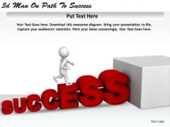 Business Process Strategy 3d Man On Path To Success Character Modeling