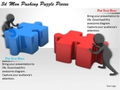 Business Process Strategy 3d Men Pushing Puzzle Pieces Basic Concepts