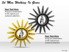 Business Process Strategy 3d Men Walking Gears Basic Concepts