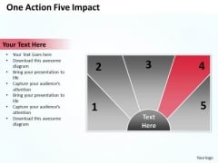 Business Process Workflow Diagram One Action Five Impact PowerPoint Slides