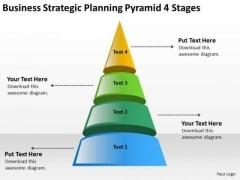 Business Strategic Planning Pyramid 4 Stages Template PowerPoint Slides