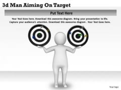 Business Strategy 3d Man Aiming On Target Character Models